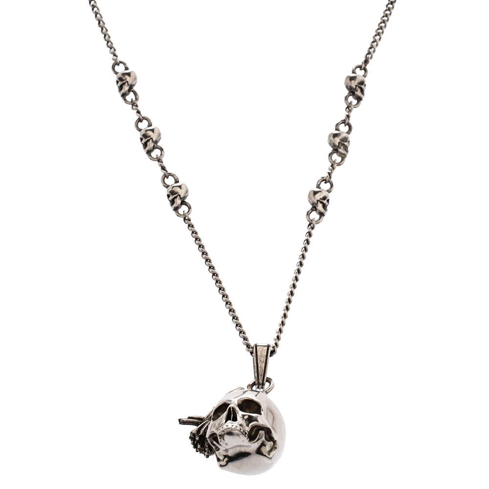 Alexander McQueen Raven And Skull Silver Tone Pendant Necklace