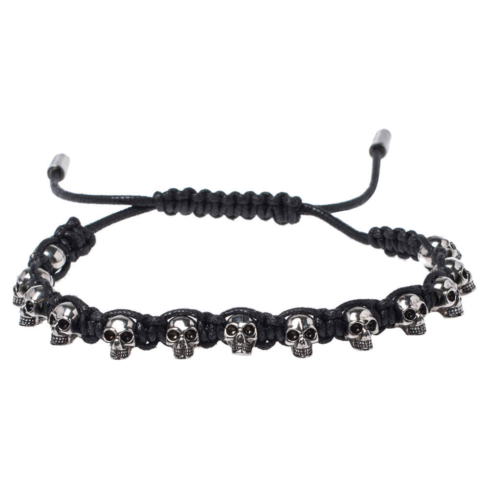Alexander McQueen Aged Silver Tone Skull Charms Friendship Bracelet