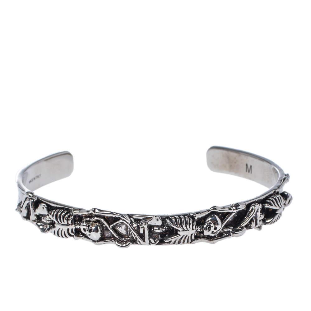 Alexander McQueen Dancing Skeleton Silver Tone Open Cuff Bracelet M