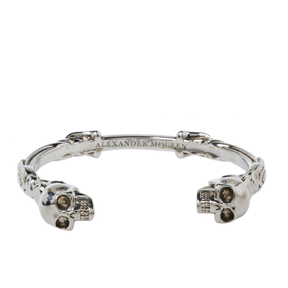 Alexander McQueen Twin Skull Motif Silver Tone Open Cuff Bracelet