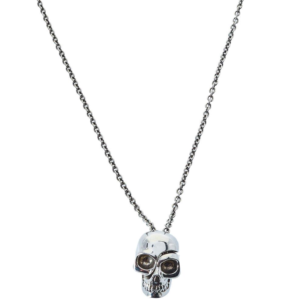 Alexander McQueen Silver Tone Divided Skull Pendant Necklace