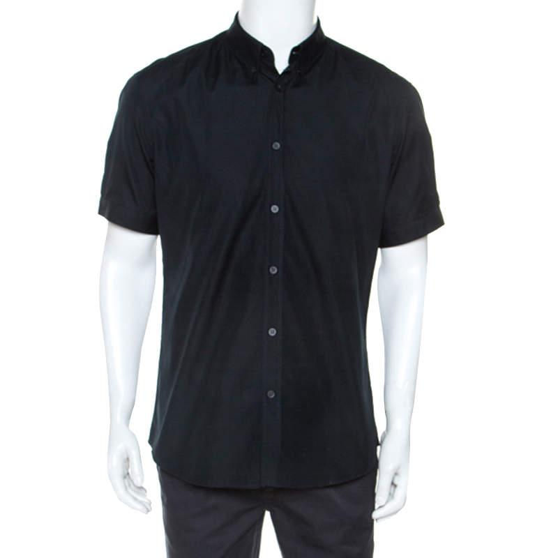 Alexander McQueen Midnight Blue Cotton Short Sleeve Shirt XL