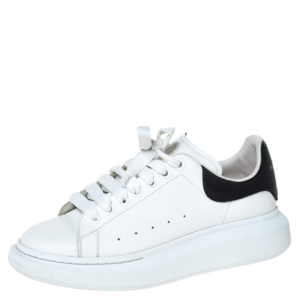 Alexander McQueen White/Black Leather Larry Low Top Sneakers Size 40