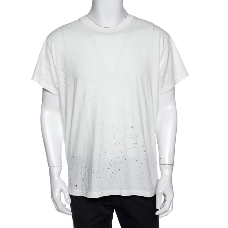 Amiri Off White Cotton Distressed Shotgun Crew Neck T-Shirt M