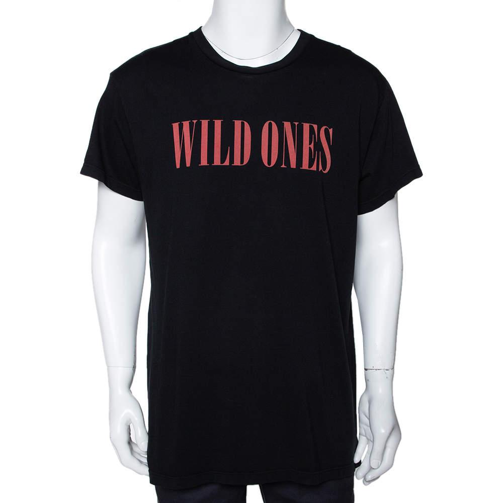 Amiri Black Cotton Wild Ones Print Round Neck T-Shirt S