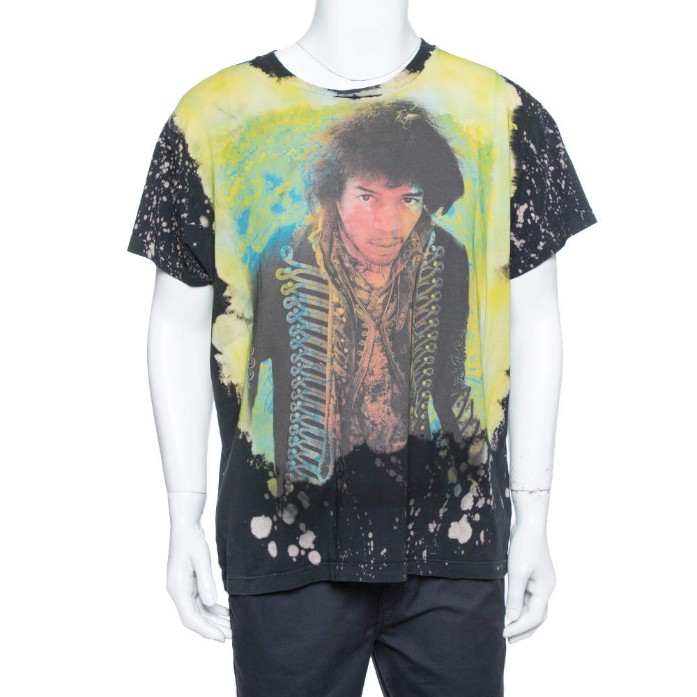 Amiri Multicolor Cotton Jimi Hendrix Printed Washed Out Effect Roundneck T-Shirt M