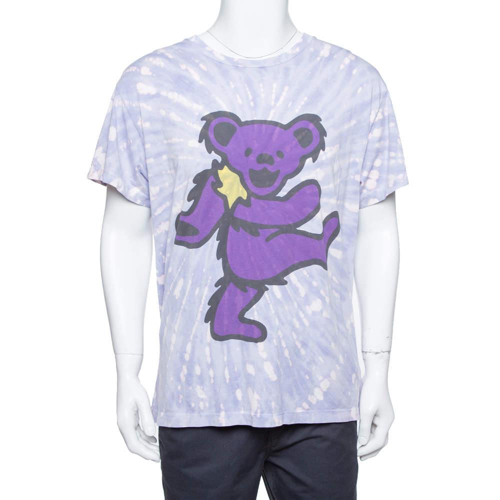 Amiri Purple Cotton Graphic Printed Tie Dye Effect Oversized T-shirt M