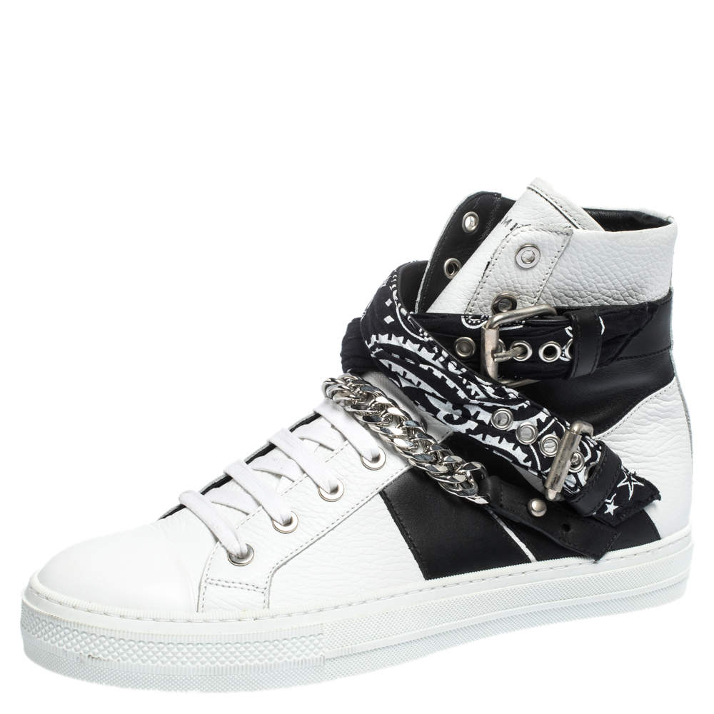Amiri White/Black Leather Bandana Sunset Lace High Top Sneakers Size 42