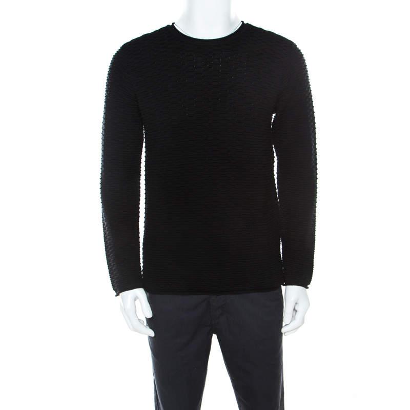 Armani Collezioni Black Textured  Wool Crew Neck Sweater L