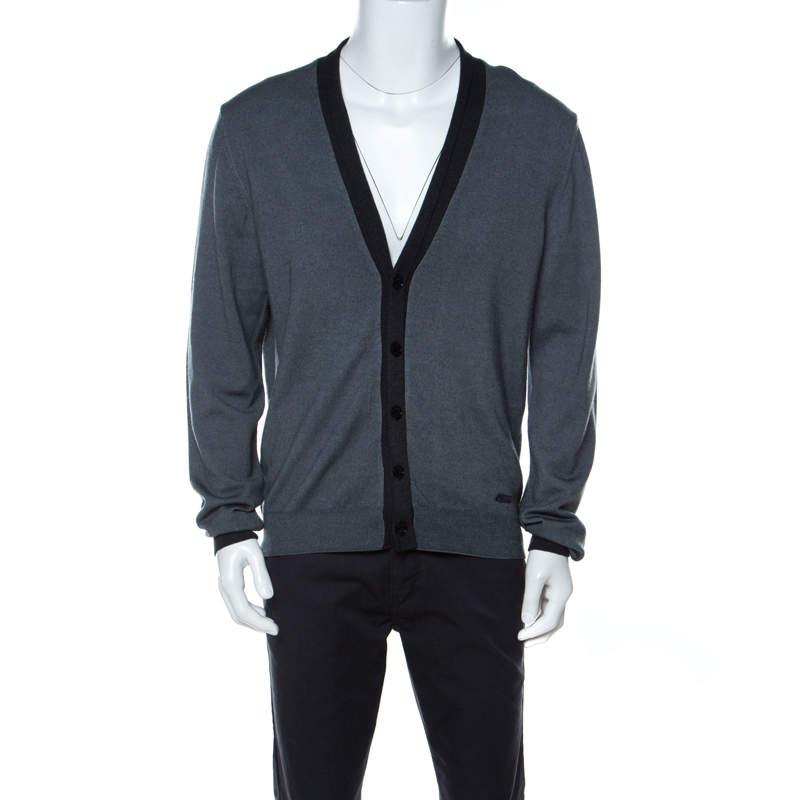 Armani Collezioni Grey Virgin Wool Cardigan XXL