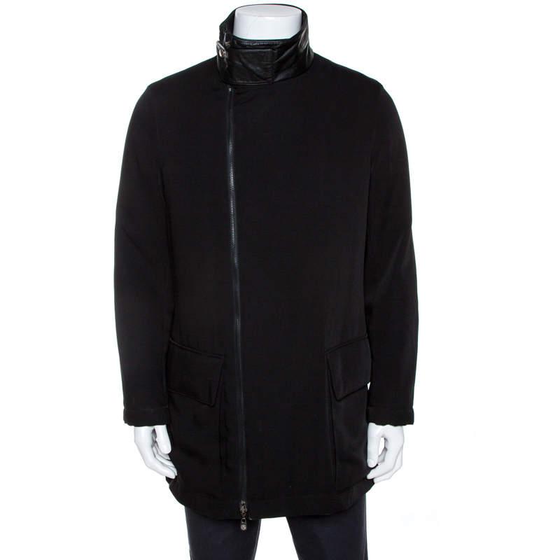 Armani Collezioni Black Zip Front Coat M