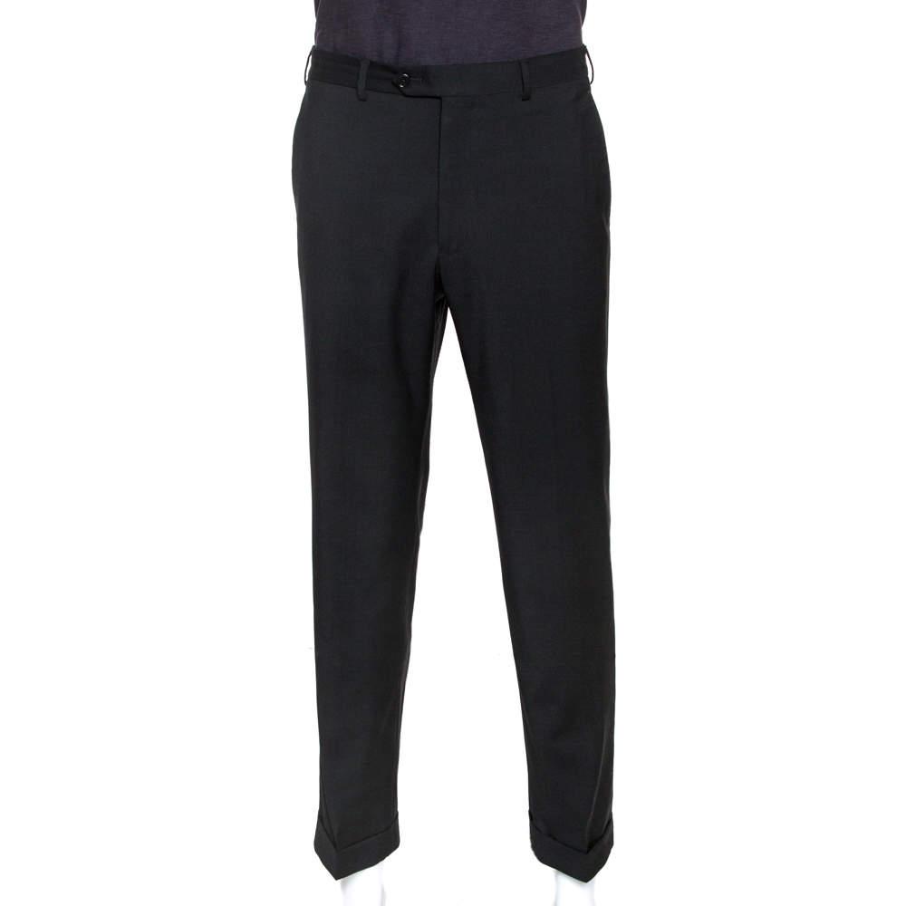 Armani Collezioni Black Wool Blend Tailored Trousers XL