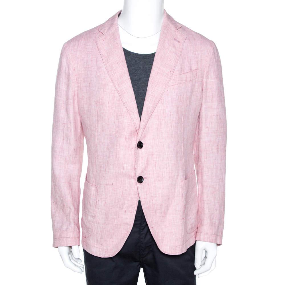 Armani Collezioni Light Pink Melange Linen Two Buttoned Blazer 3XL