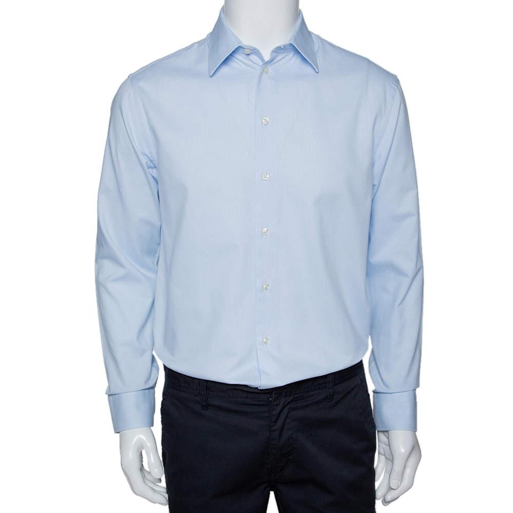 Armani Collezioni Light Blue Textured Cotton Long Sleeve Shirt L