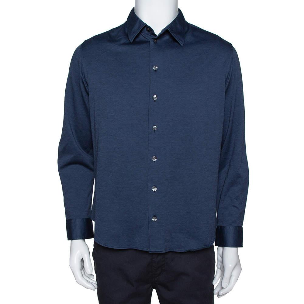 Armani Collezioni Navy Blue Cotton Knit Long Sleeve Shirt XL
