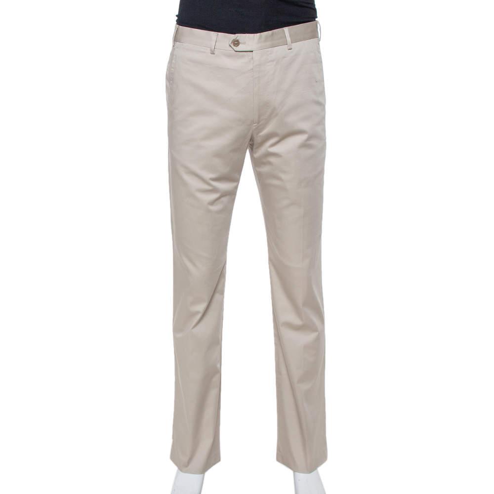 Armani Collezioni Beige Cotton Classic Fit Trousers L