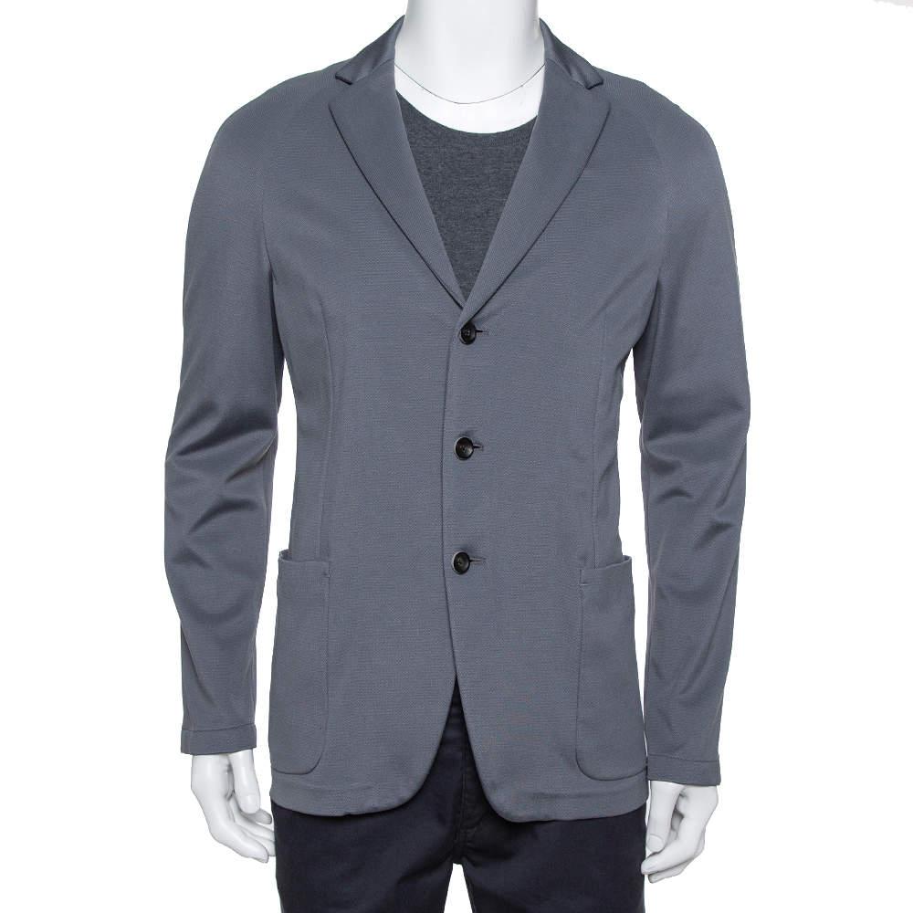 Armani Collezioni Grey Pique Knit Three Button Blazer L