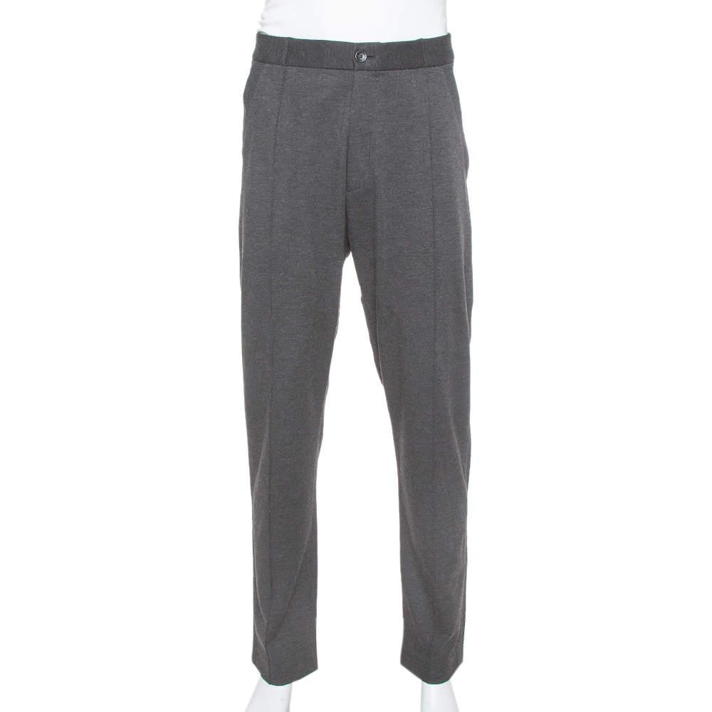 Armani Collezioni Dark Grey Knit Striped Pattern Tapered Trousers 3XL
