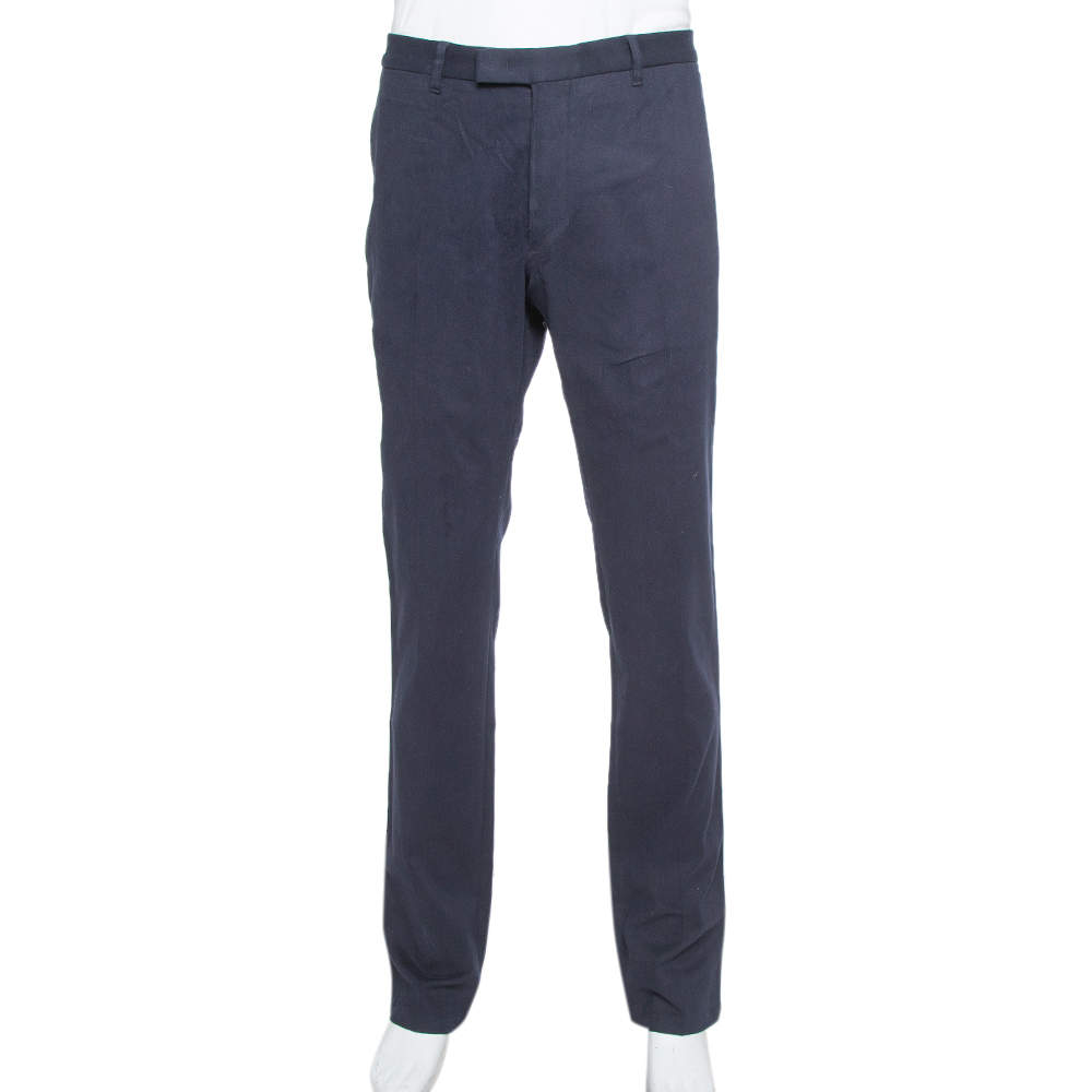 Armani Collezioni Navy Blue Cotton Tapered trousers 4XL