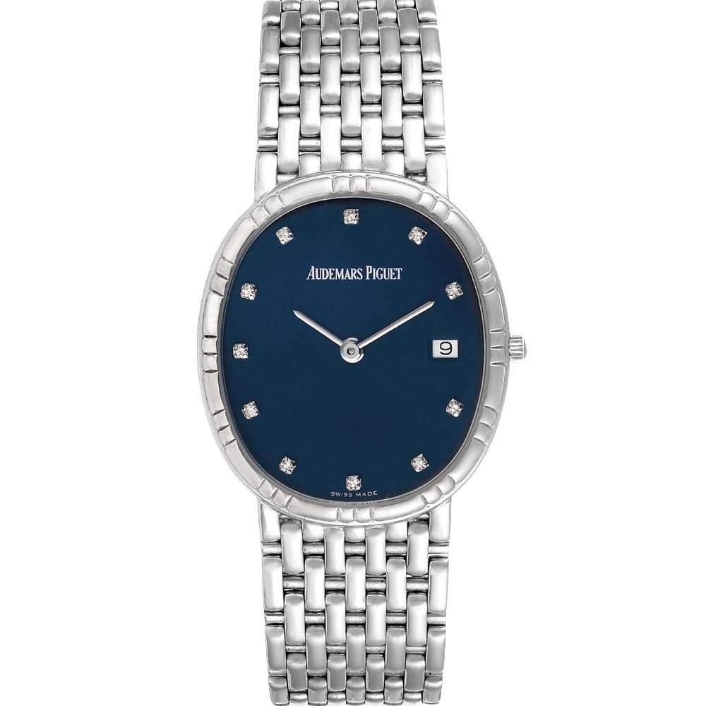 Audemars Piguet Blue Diamonds 18K White Gold Vintage Classic Men's Wristwatch 33 x 30 MM