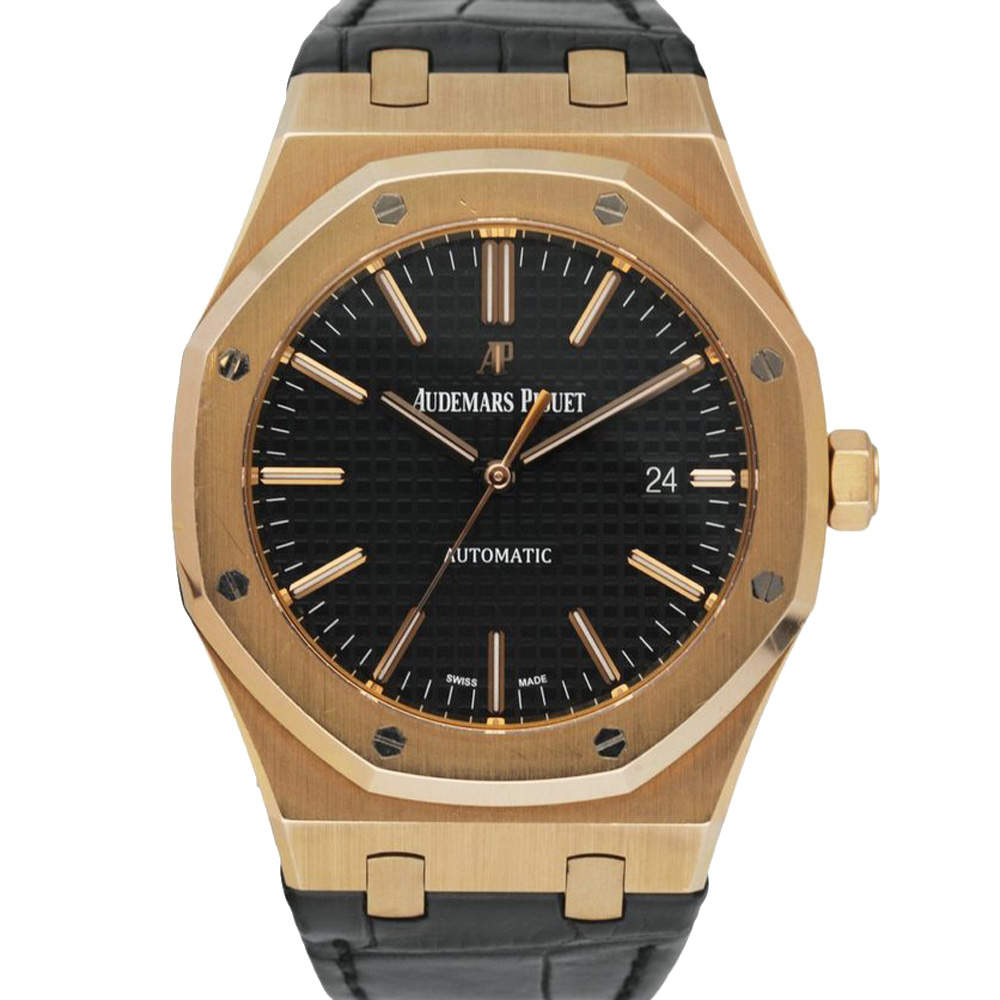 Audemars Piguet Black 18K Rose Gold Royal Oak 15400OR Men's Wristwatch 41 MM
