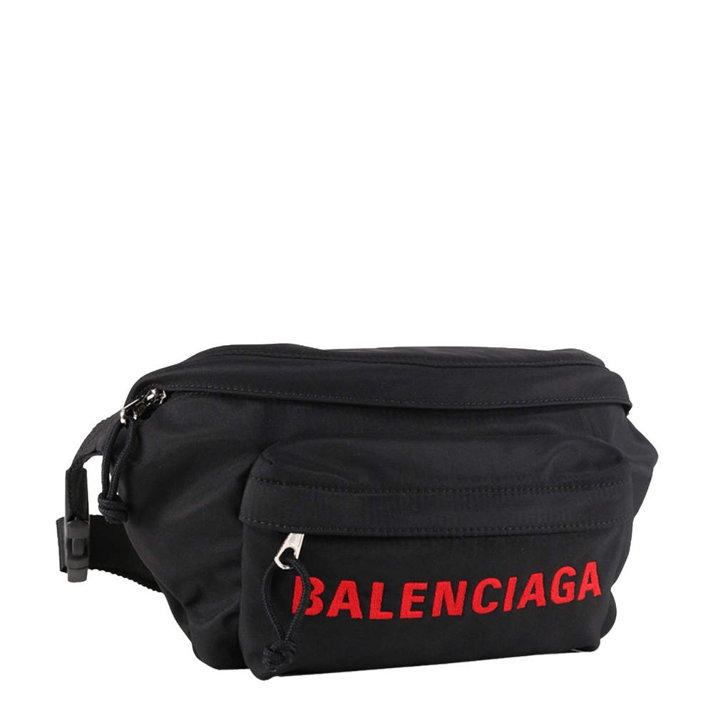 Balenciaga Black/Red Nylon Wheel Beltpack