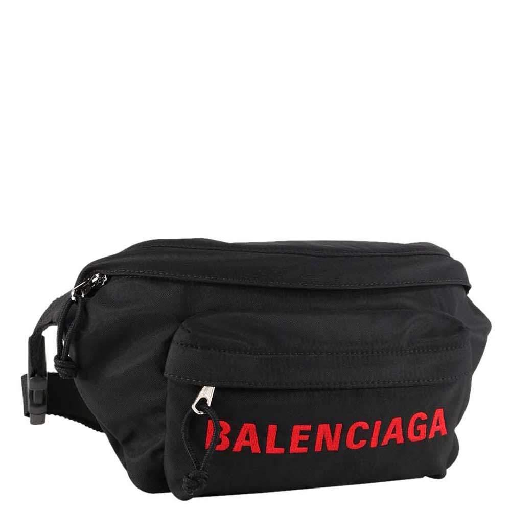 Balenciaga Black/Red Nylon Wheel Belt Bag