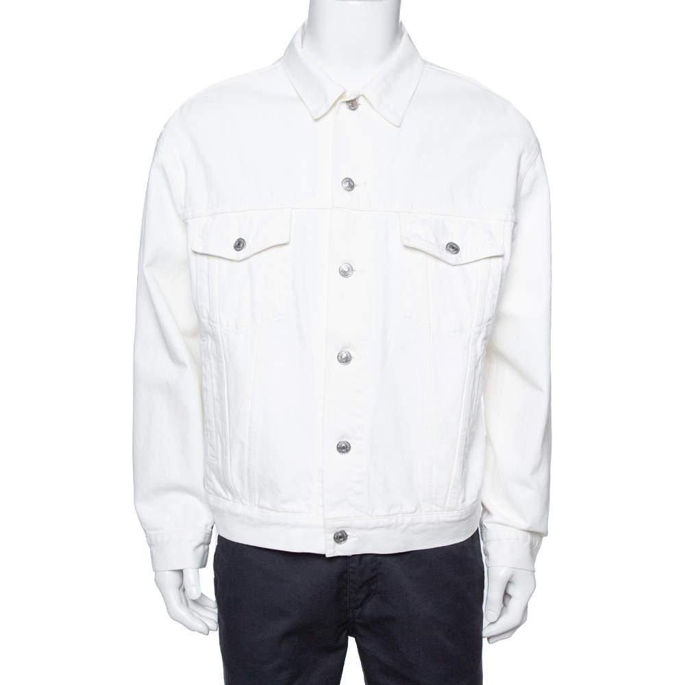 Balenciaga White Denim Logo Embroidered Trucker Jacket M