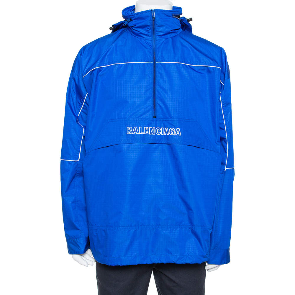 Balenciaga Blue Synthetic Logo Embroidered Oversized Wind Breaker Hoodie XS