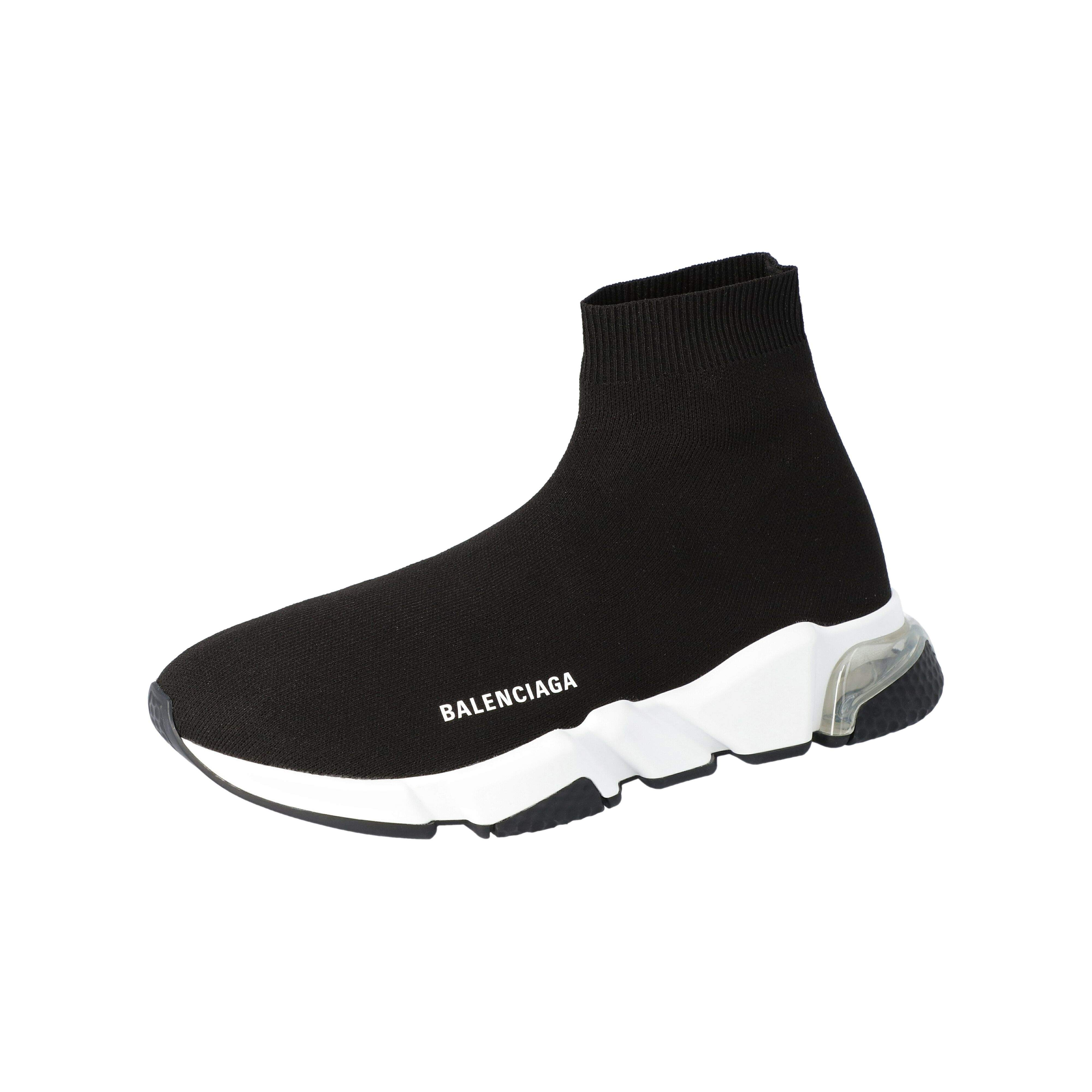 Balenciaga Black Knit Speed Clear Sole Sneakers Size 45