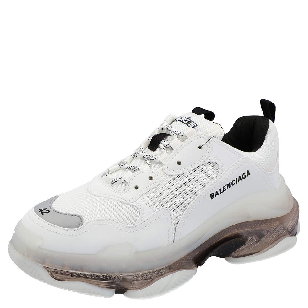 Balenciaga White Triple S Clear Sole Sneakers Size 42