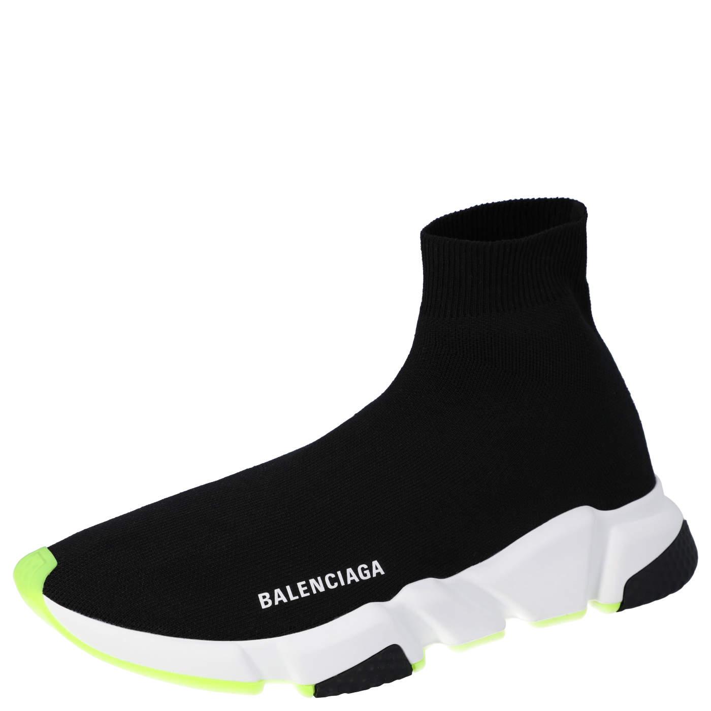 Balenciaga Black/Neon Green Knit Speed High Top Sneakers Size EU 42