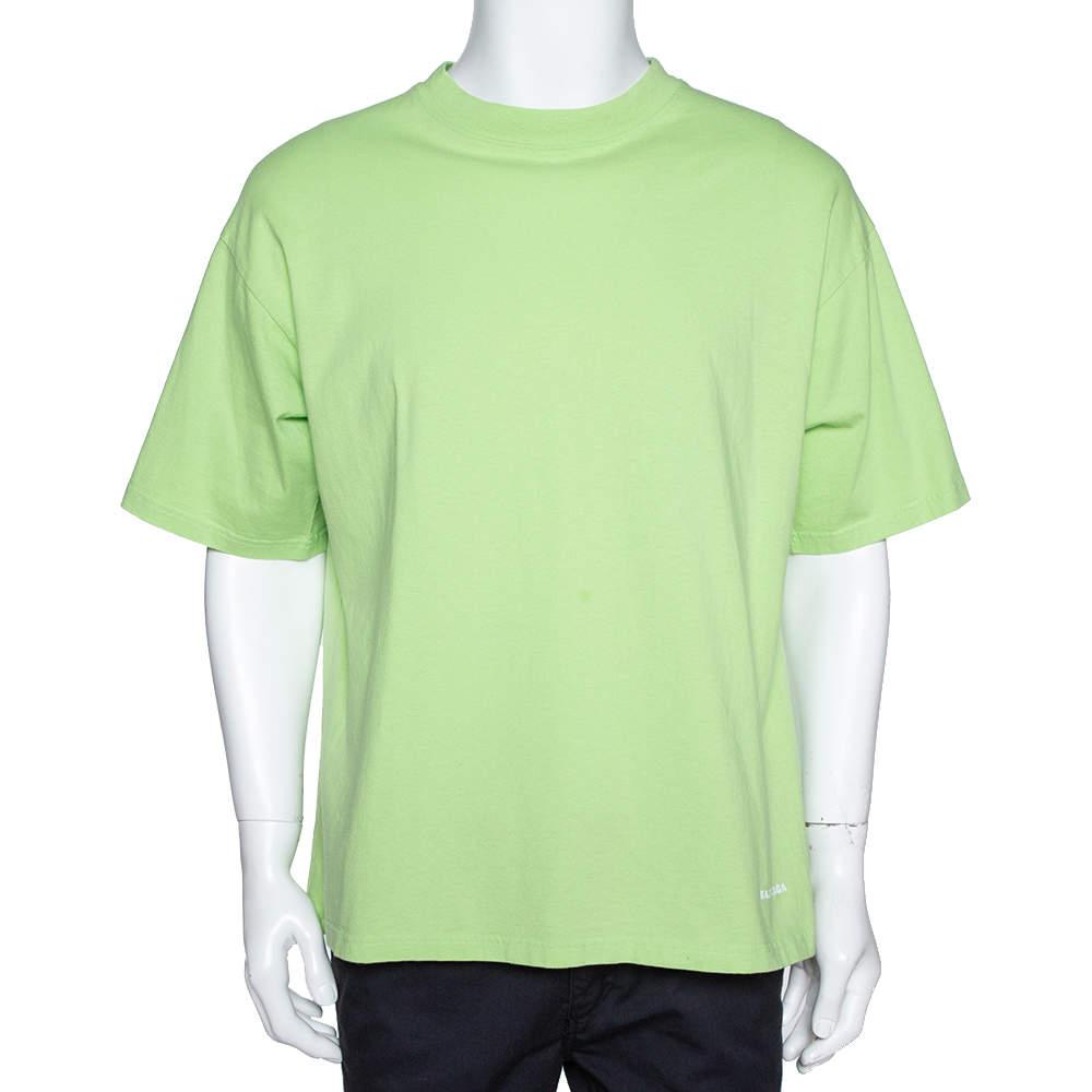 Balenciaga Neon Green Logo Embroidered Cotton T-Shirt M