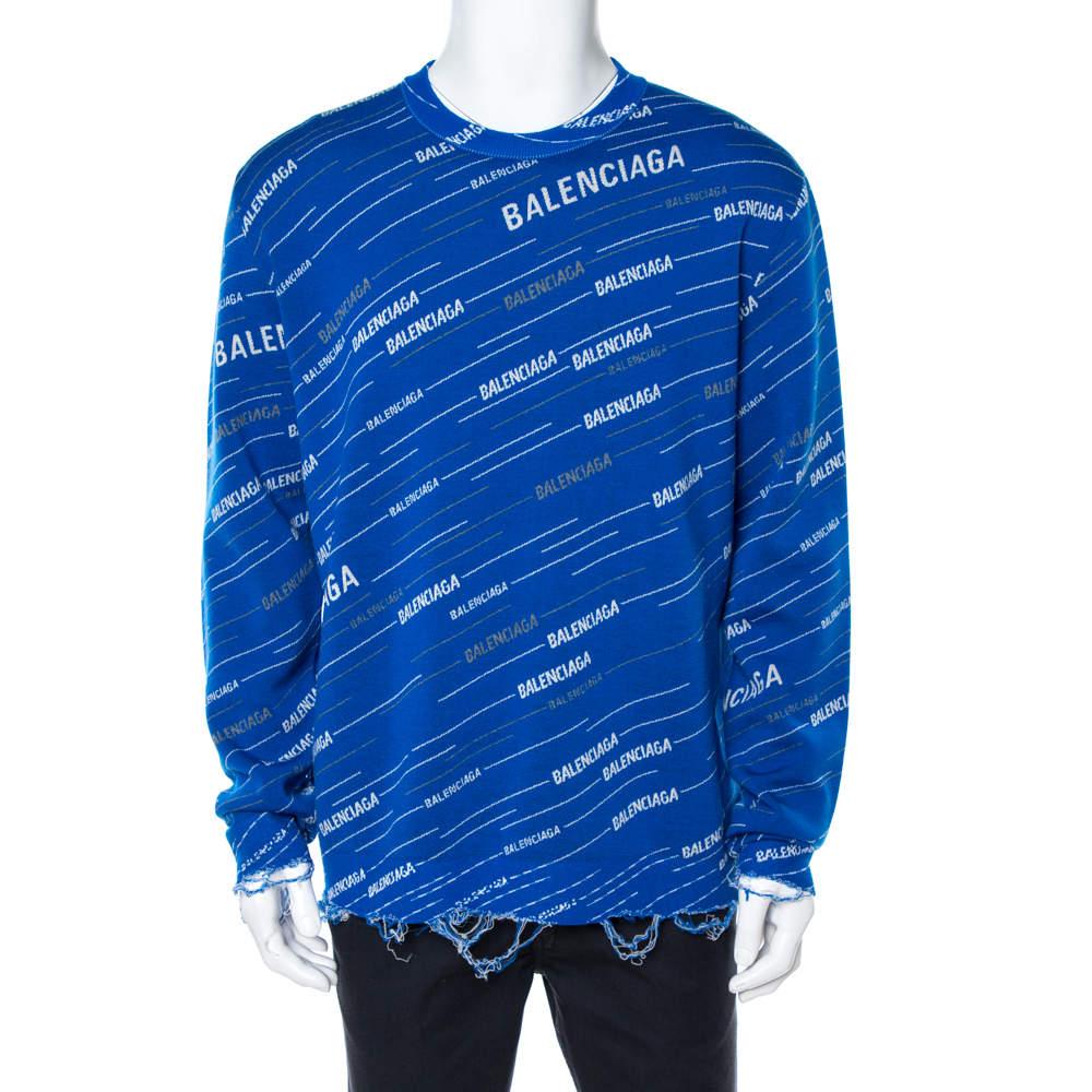 Balenciaga Blue Logo Wool Knit Distressed Sweatshirt M