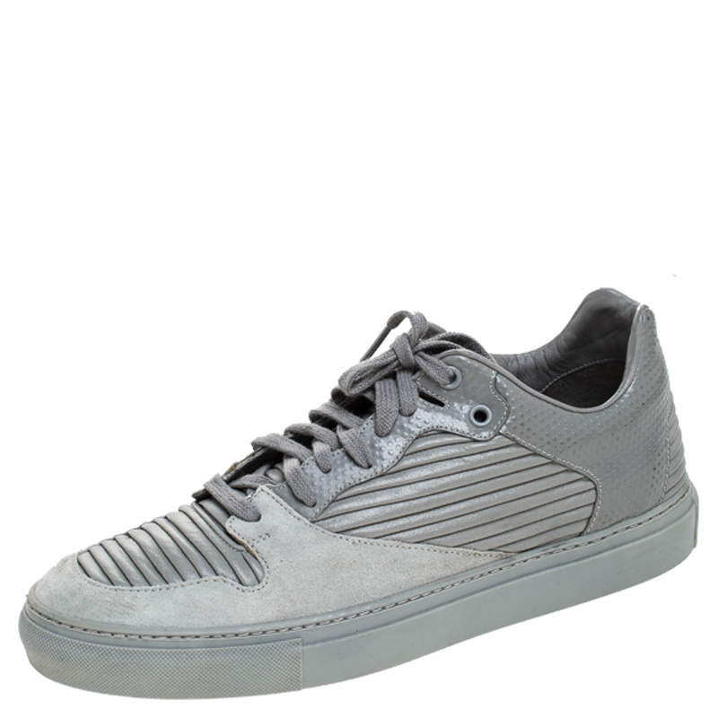 Balenciaga Grey Leather And Suede Low