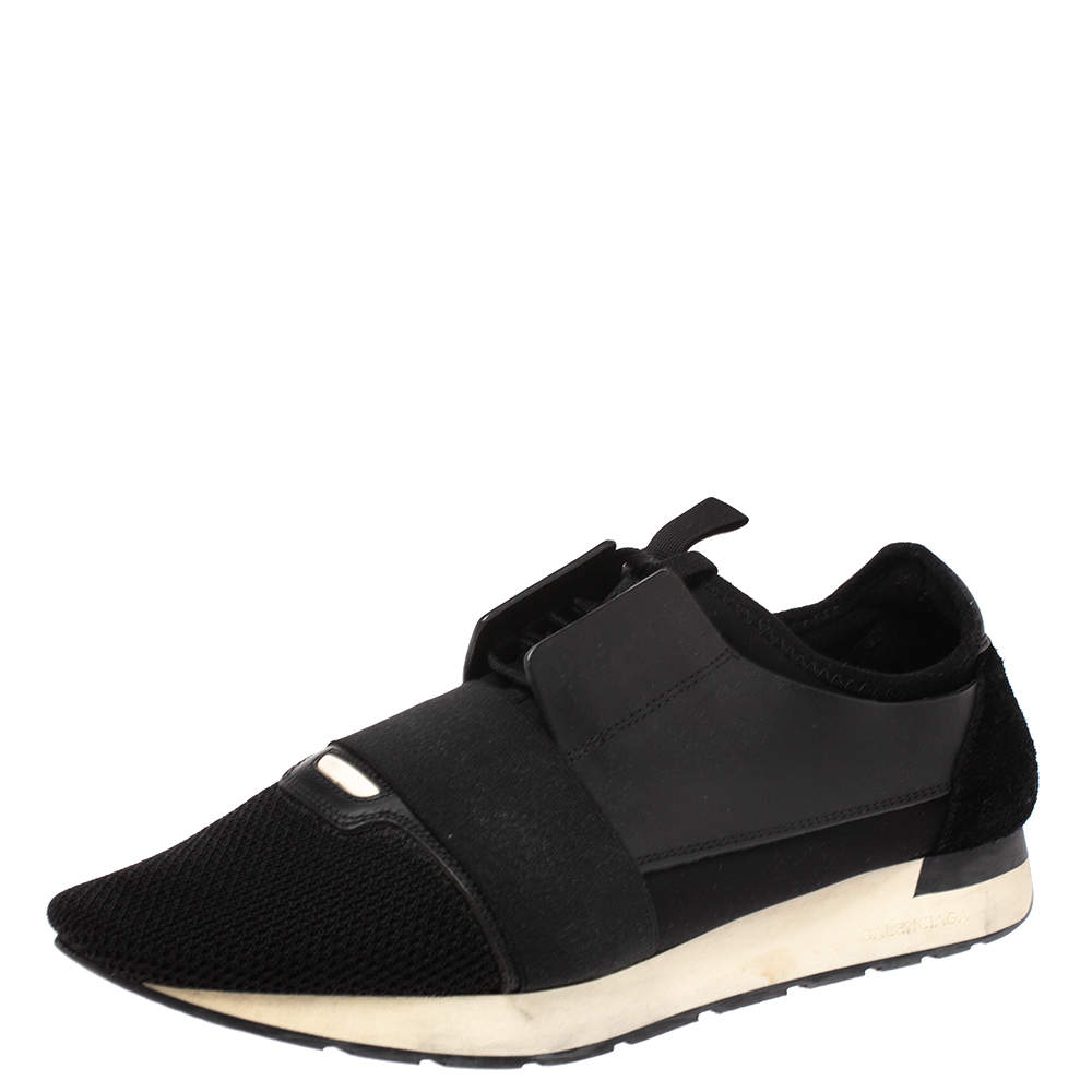 Balenciaga Black Leather, Suede And Mesh  Race Runner Sneakers Size 44