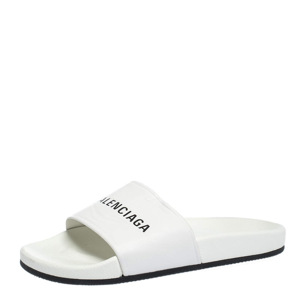 Balenciaga White Leather Logo Slide Sandals Size 41