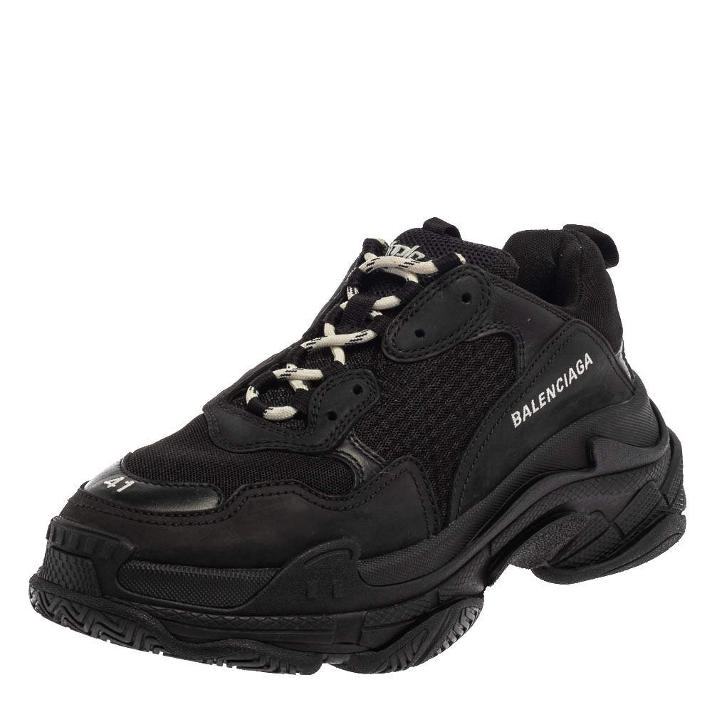 Balenciaga Black Mesh And Leather Triple S Low Top Sneakers Size 41