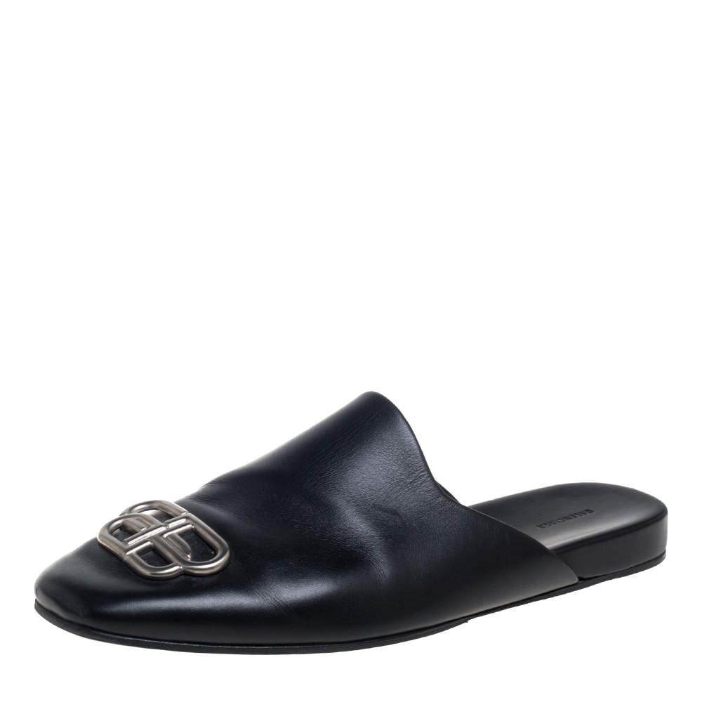 Balenciaga Black Leather Cosy BB Logo Embellished Mule Sandals Size 43