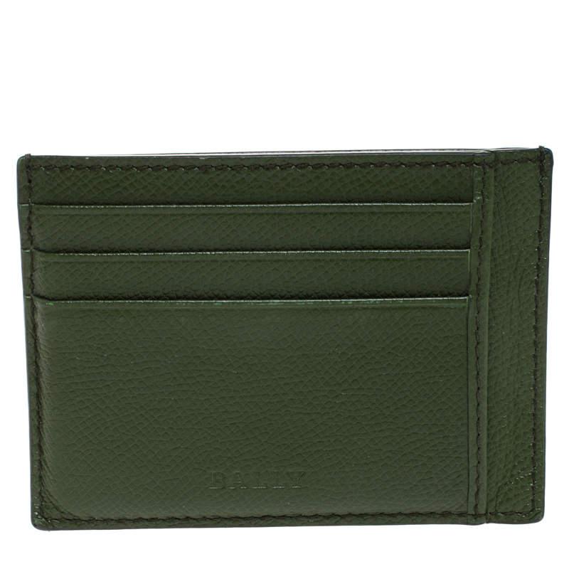 Bally Avocado Green Leather Card Holder