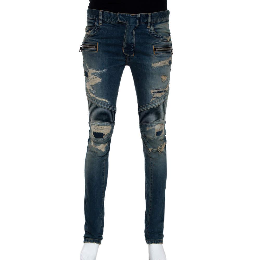 Balmain Blue Washed Out & Distressed Denim Biker Jeans S