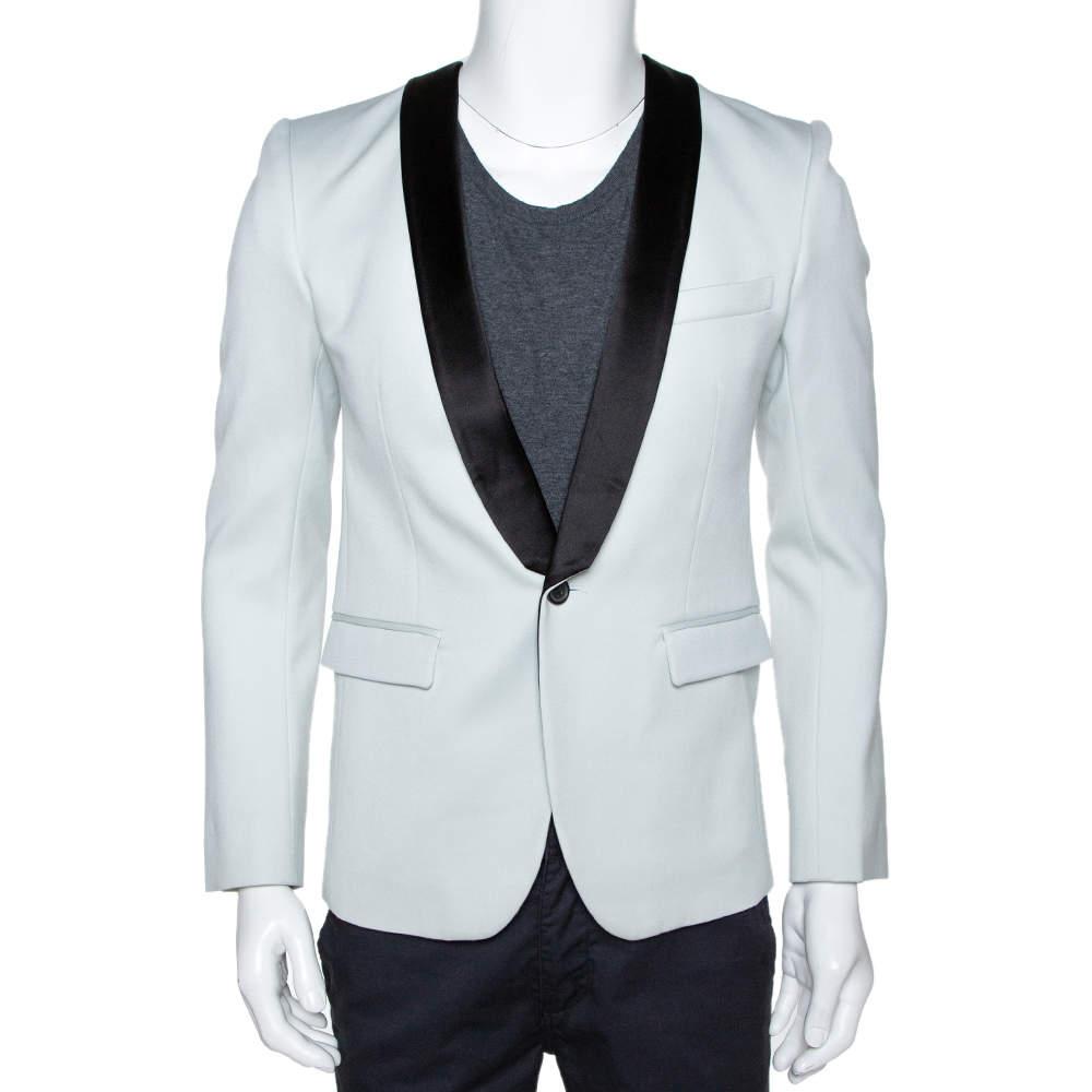 Balmain Pale Blue Wool Contrast Shawl Lapel Tuxedo Jacket M