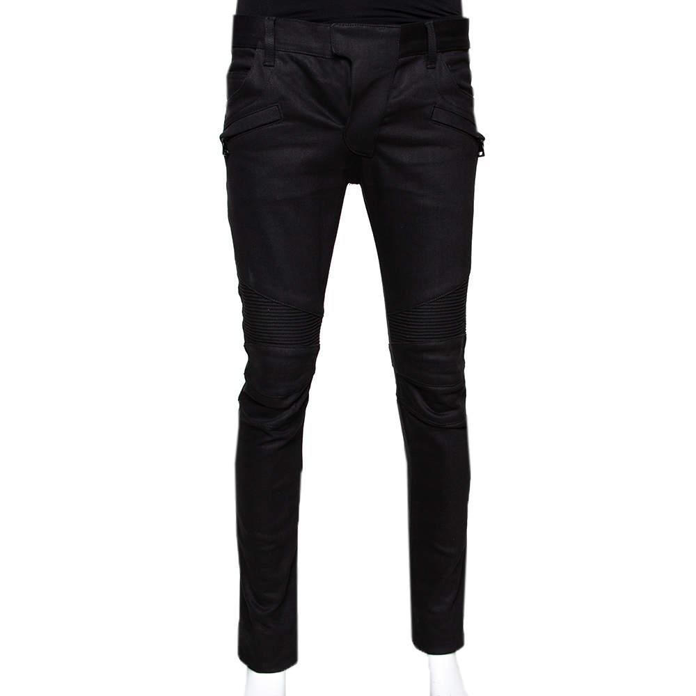 Balmain Black Denim Biker Jeans M