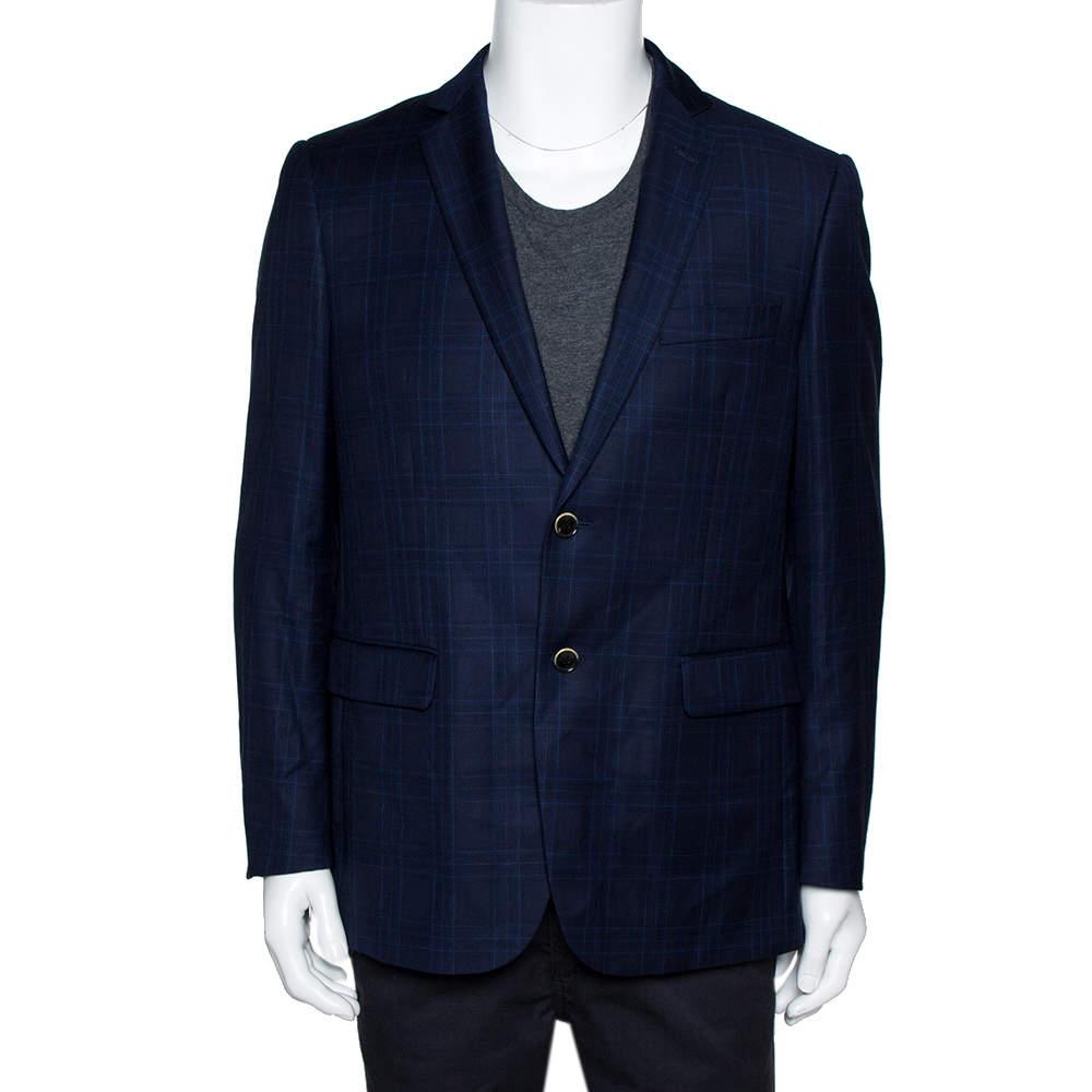 Balmain Super 120s Navy Blue Checkered Wool Slim Fit Blazer XL