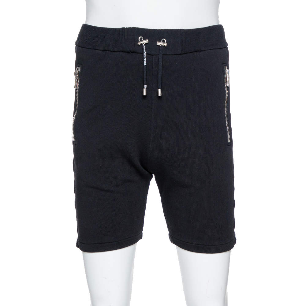 Balmain Black Cotton Logo Tape Detail Track Shorts M