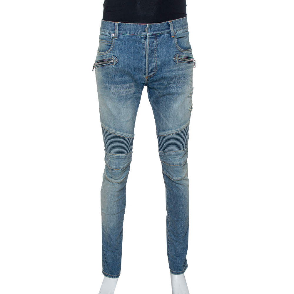 Balmain Blue Stonewashed Denim Skinny Biker Jeans L