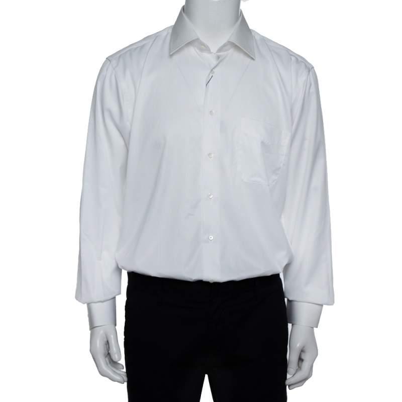 Balmain White Striped Cotton Long Sleeve Button Front Two Ply Shirt L