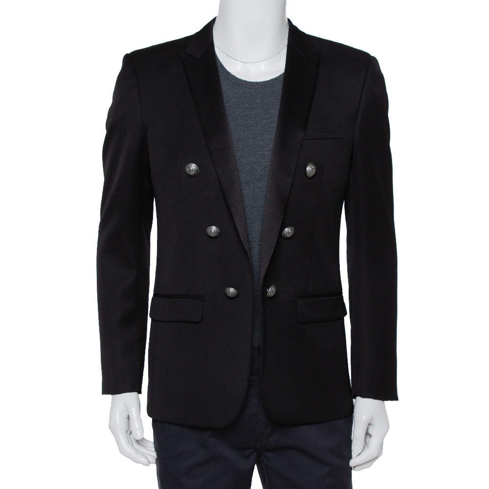 Balmain Black Wool Button Front Open Blazer XL