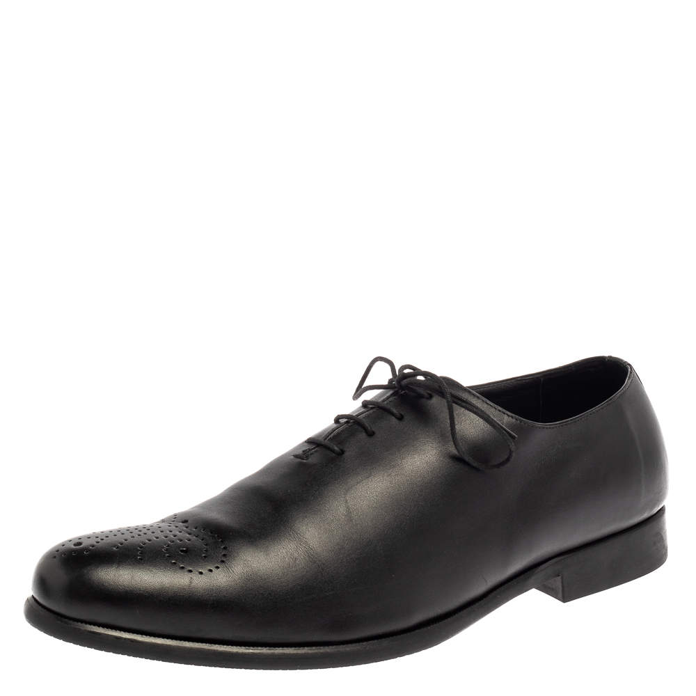 Balmain Black Leather Lace Up Oxfords Size 45