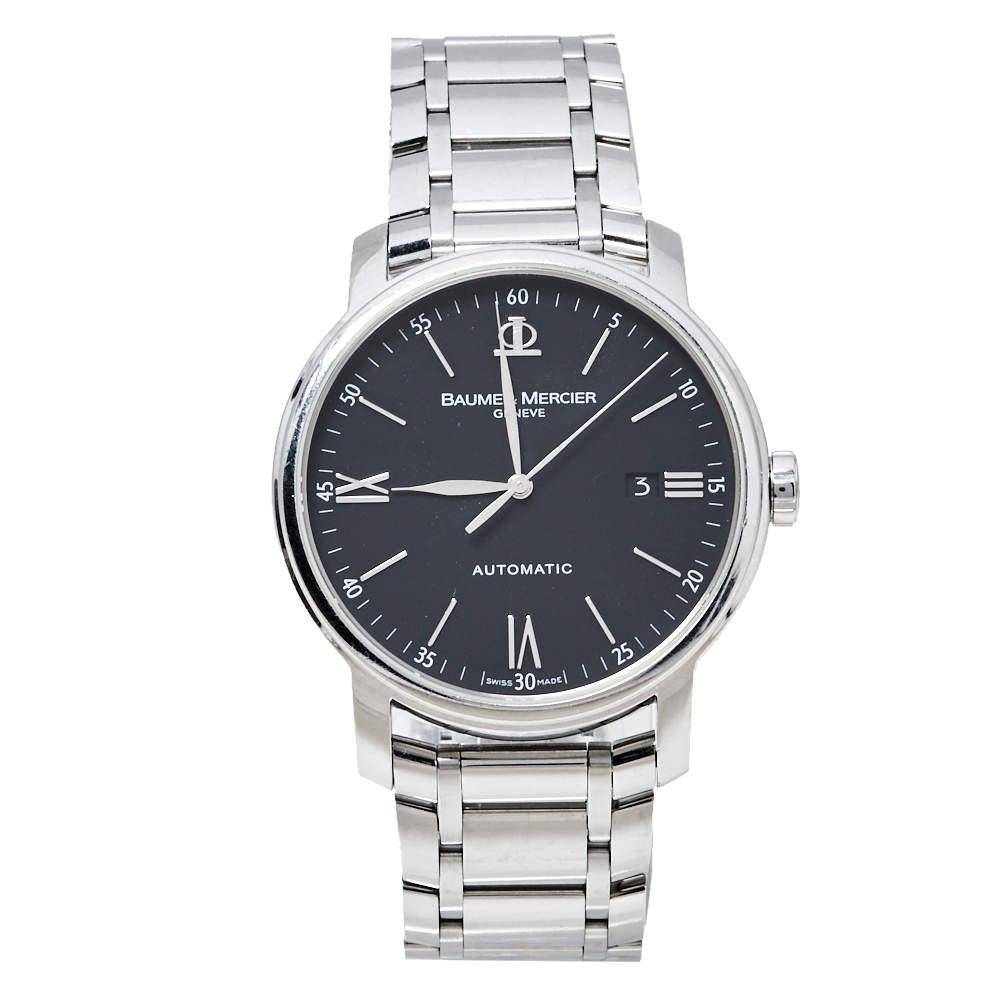 Baume & Mercier Black Stainless Steel Classima XL 65534 Automatic Men's Wristwatch 41 MM